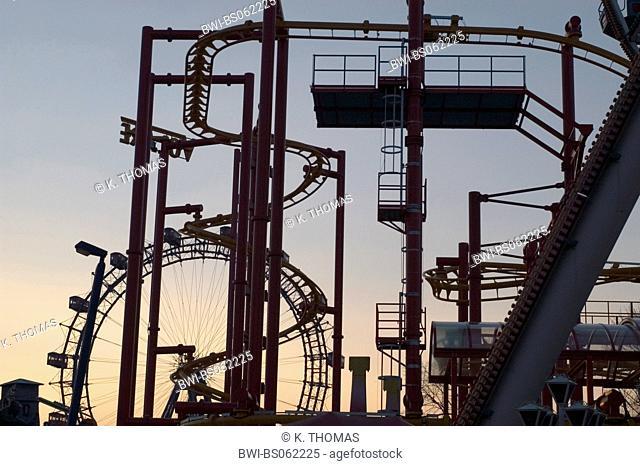 Prater amusement park in Vienna, Giant Ferry Wheel, roller coaster, Austria, Vienna, 2. district, Vienna - Prater