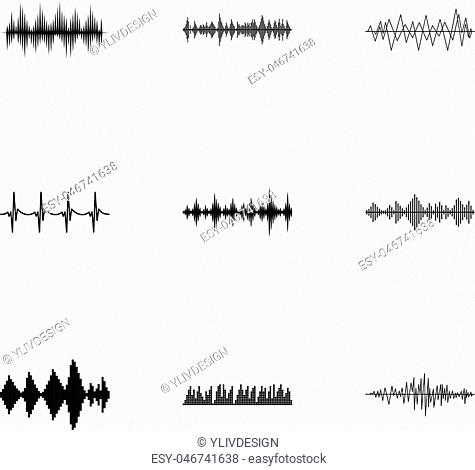 Sound track icons set. Simple illustration of 9 sound track vector icons for web