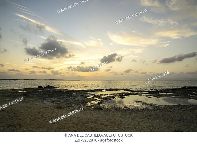 FORMENTERA ISLAND SPAIN ON SEPT 5, 2018: Mediterranean Sea. Puerto La Savina the harbor
