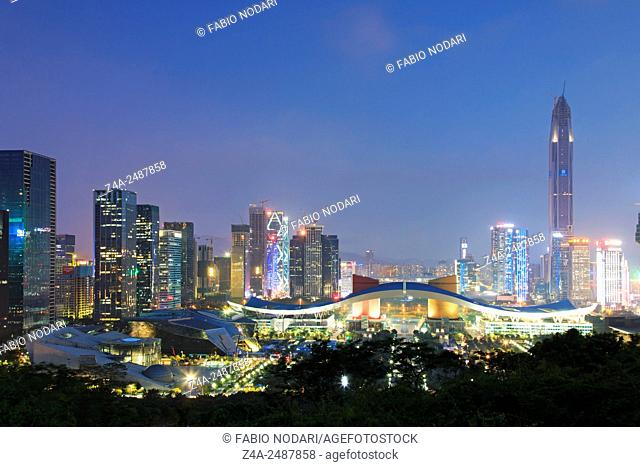 Shenzhen, China - August 27,2015: Shenzhen cityscape at dusk with the Civic Center and the Ping An IFC on foreground