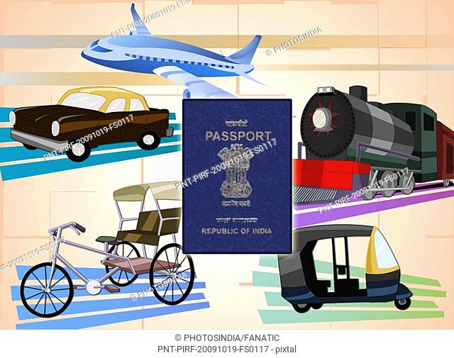 Montage of transportation with a passport, India