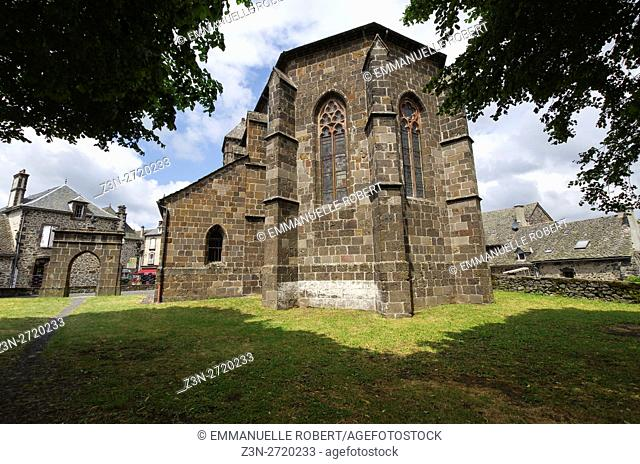 Church in Salers, plus beau village de France, Cantal, Auvergne, France, Europe