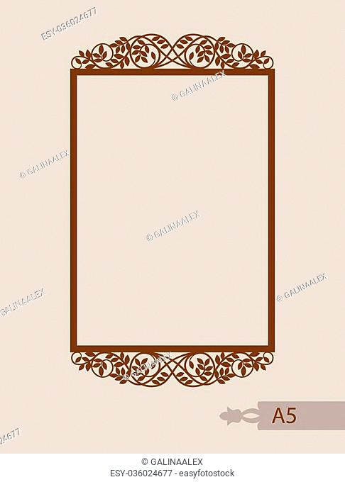 Abstract square photo frame with swirls. Pattern is suitable for greeting cards, invitations, menus, design interiors etc