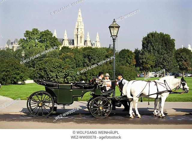 Austria, Vienna, Horse cab in front of town hall