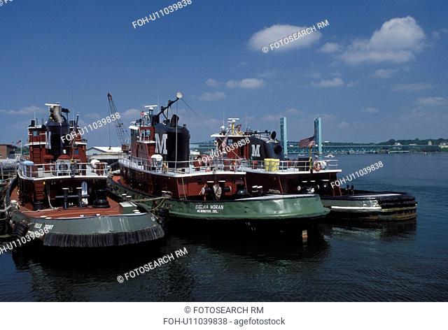 Portsmouth, NH, New Hampshire, The Tuggs, tugboats docked along the Piscataqua River in Portsmouth