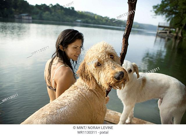 A woman swimming with her two dogs in a lake
