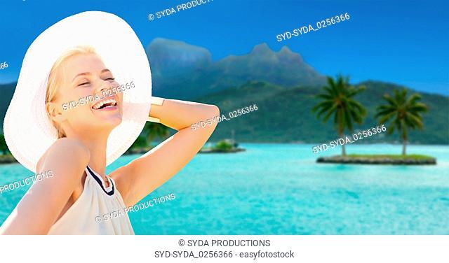 beautiful woman enjoying summer bora bora beach