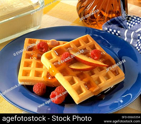 Two Waffles with Syrup; Raspberries and Nectarines