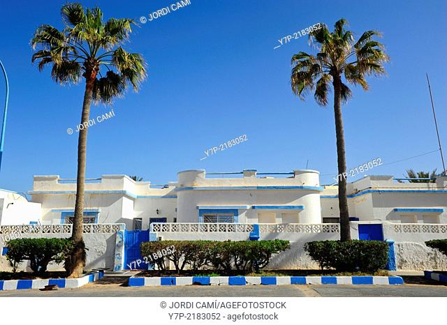Art deco old colonial houses . Sidi Ifni. Morocco .North Africa