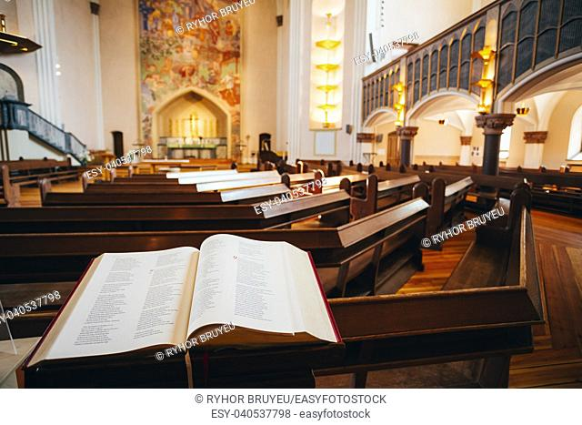 STOCKHOLM, SWEDEN - JULY 29, 2014: Interior Of Sofia Kyrka (Sofia Church). Sofia Church named after the Swedish queen Sophia of Nassau