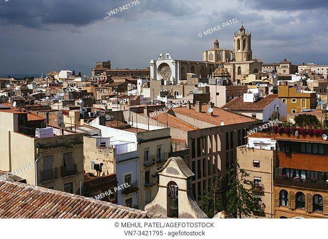 Rooftop view over the old town of Tarragona with Tarragona Cathedral rising above, Catalonia, Spain, Europe