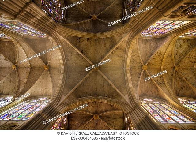 Interior of famous Leon gothic cathedral with light mood atmosphere in Leon, Spain