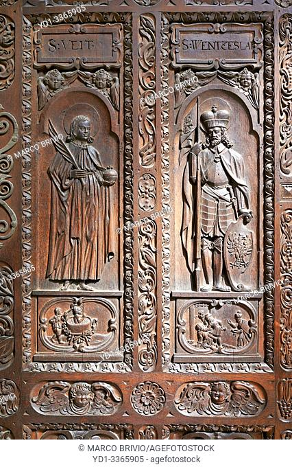 Prague Czech Republic. St. Vitus Cathedral inside Prague castle complex. A wooden carved door