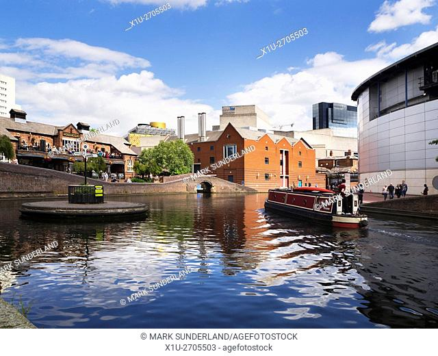 Narrowboat Passing Old Turn Junction on the Birmingham Canal Birmingham West Midlands England