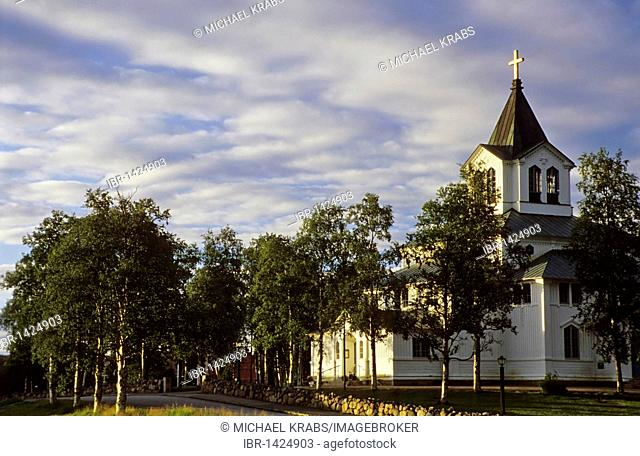 Church of Gaellivare in the evening light, Lapland, Sweden, Scandinavia, Europe