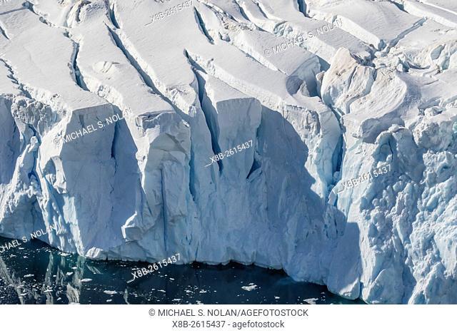 Fractured tidewater glacier in Neko Harbor, Antarctica