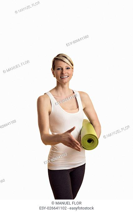 woman in yoga outfit goodbye or greeted someone with a hand shake before isolietren white background