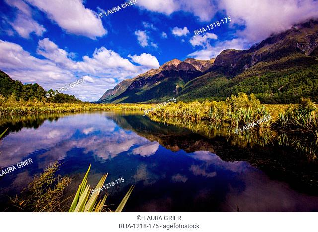 Lake in Milford Sound, Fjordlands National Park, UNESCO World Heritage Site, South Island, New Zealand, Pacific
