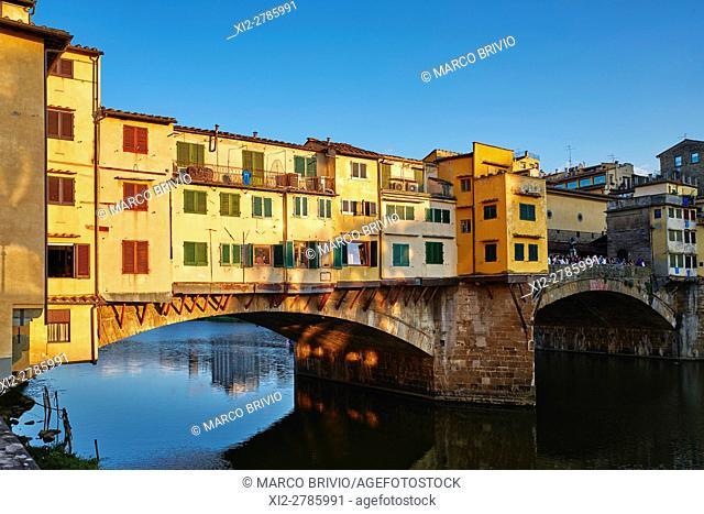 The Ponte Vecchio ('Old Bridge') is a medieval stone closed-spandrel segmental arch bridge over the Arno River, in Florence, Italy
