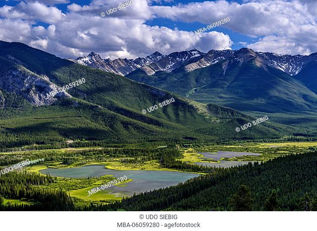 Canada, Alberta, Banff National Park, Banff, Vermilion Lakes against Sundance Range, View from Lookout Norquay