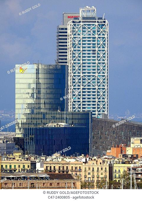Gas Natural Building, Hotel Arts and Torre Mapfre. Barcelona, Catalonia, Spain