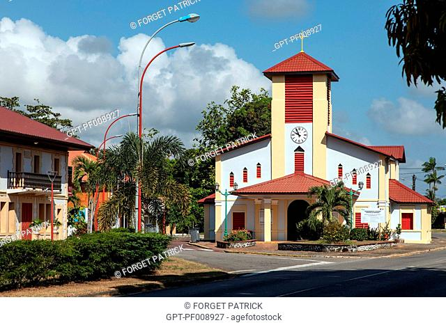 COLORFUL CHURCH OF TONATE, MACOURIA, FRENCH GUIANA, OVERSEAS DEPARTMENT, SOUTH AMERICA, FRANCE
