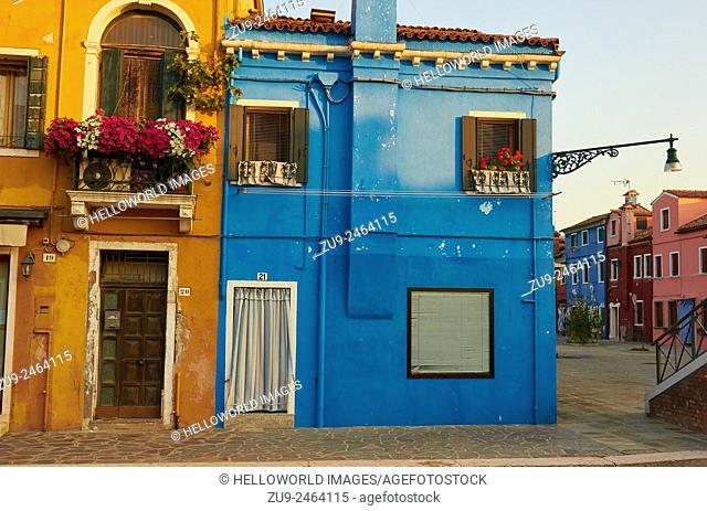 Houses and square, Burano, Venetian lagoon, Veneto, Italy, Europe
