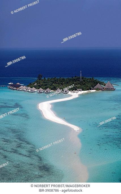 Aerial view, tourist resort with a sandy beach, Ari Atoll, Indian Ocean, Maldives
