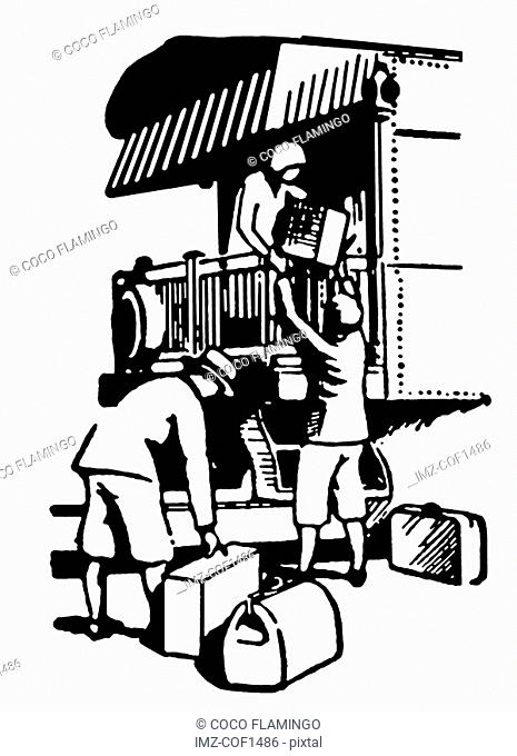 A black and white version of a vintage illustration of people boarding a train for vacation