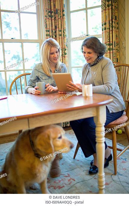 Senior woman and granddaughter using digital tablet