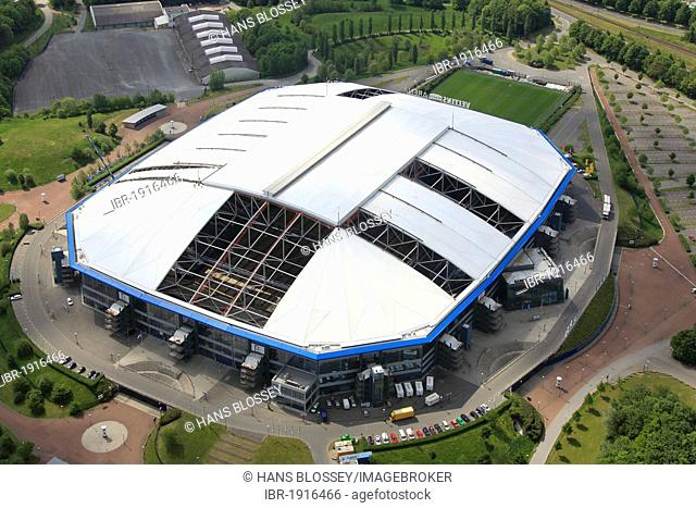 Aerial view, Veltins-Arena football stadium, roof of the Arena AufSchalke stadium being repaired, ripped canvas roof, Gelsenkirchen, Ruhr area