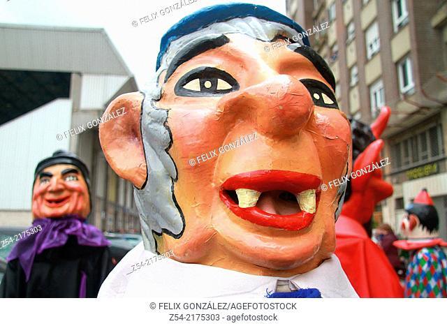 Gijantes y Cabezudos, at Aviles, Asturias, Spain. Fiestas del Bollo, Traditional folk Figure
