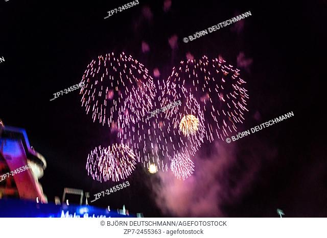 "Kiel, Germany. 5th June, 2015. The final firework after the christening of """"Mein Schiff 4"""" with music from DJane Tanja la Croix"