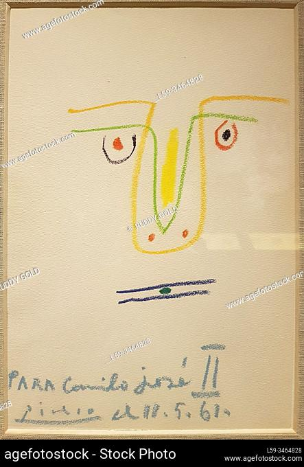 """""""""""""""Para Camilo José II (For Camilo Jose II)"""""""", Pablo Picasso (1881-1973), wax crayon on paper. From a set of eight drawings dedicated by Picasso to Camilo José..."""