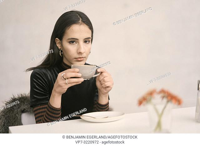woman, cup, drinking, indoors
