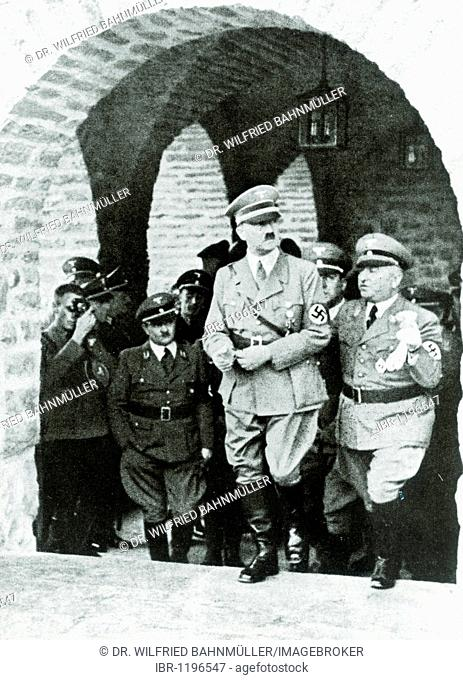 L. to r. Gauleiter regional branch leader Erich Koch, Adolf Hitler, architect Hermann Giesler, Reichsorganisationsleiter head of the German Labour Front Dr