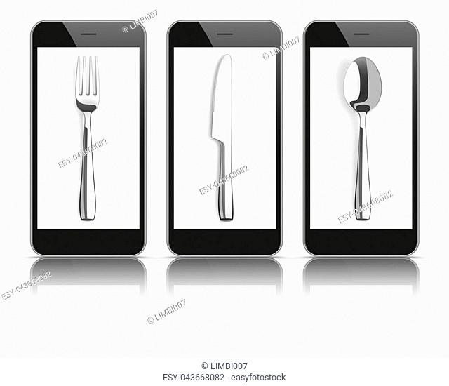 3 black smartphones with knife, fork and spoon on the white background