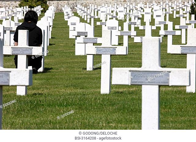 Military cemetery of the Prieuré de Binson in Chatillon sur Marne in France in which are burried soldiers killed during the great war 14-18