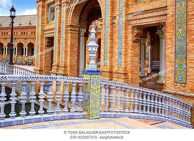 Seville Sevilla Plaza de Espana ceramic balustrade Andalusia Spain square