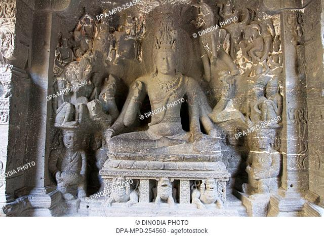 Shiva statue, kailash temple, aurangabad, maharashtra, india, asia