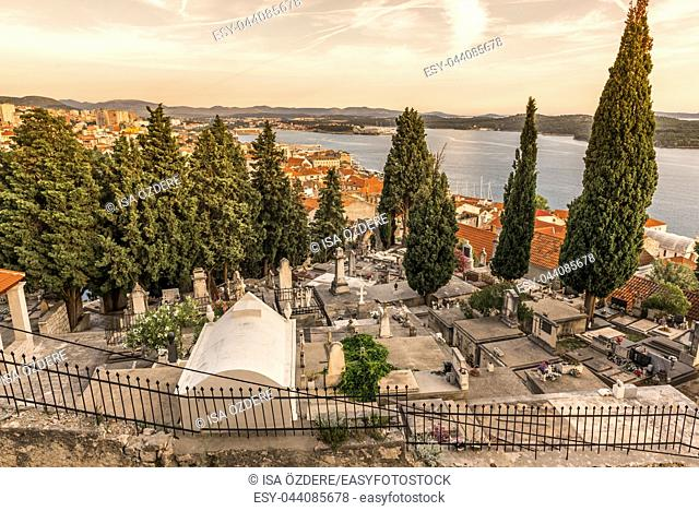 View of Sibenik town from ancient Barone fortress in Sibenik,Croatia