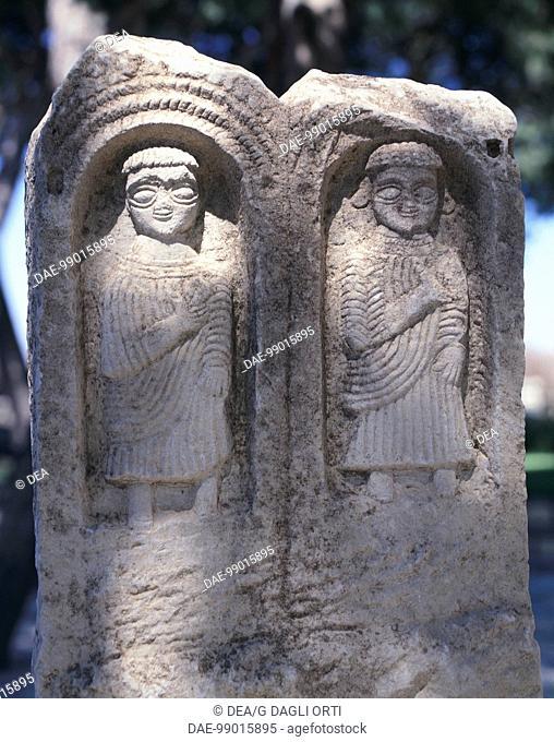 Votive stele from Tophet Baal Hammon (open-air sanctuary) in Maktar (Tunisia). Punic civilization, 1st-3rd Century.  Maktar