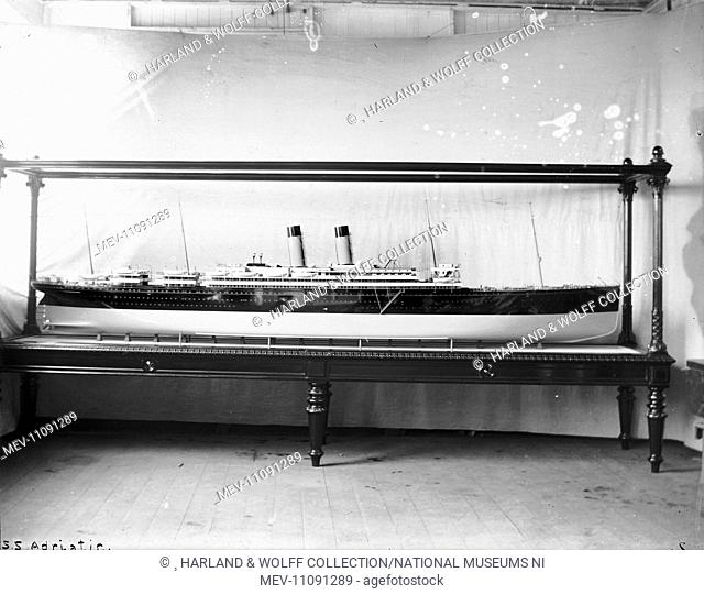 Starboard profile of cased builder's model. Ship No: 358. Name: Adriatic. Type: Passenger Ship. Tonnage: 24540. Launch: 20 September 1906