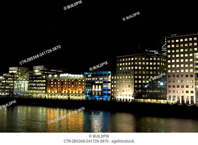 London at night, London Bridge area, south the river, United Kingdom