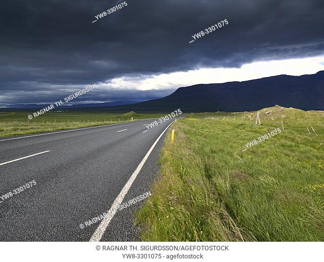 Empty road in the countryside, Iceland