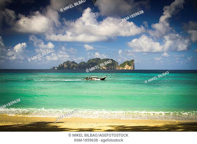 Phi Phi Lee island from Long beach  Phi Phi Don island  Krabi province, Andaman Sea, Thailand