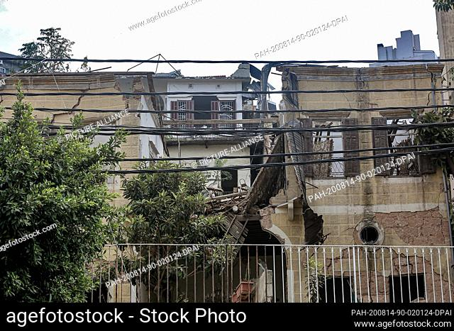 14 August 2020, Lebanon, Beirut: A heavily damaged historical house is seen in Mar Mekhail neighbourhood. The UNESCO is planning to lead an international...