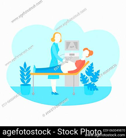 Pregnancy examination. Pregnant woman ultrasound, healthcare and maternity diagnostic. Gynecologist doctor monitoring patient belly in clinic