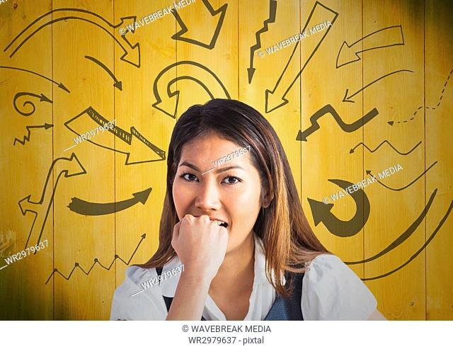 Frustrated business woman against 3D yellow wood panel and arrow graphics