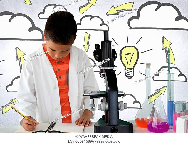 Schoolboy scientist writing with microscope and light bulb idea